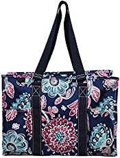5179052cb737 Pursetti Zip-Top Organizing Utility Tote Bag with Multiple Exterior ...