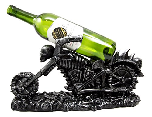 (Atlantic Collectibles Large Hell Ghost Rider Skull Chopper Motorbike Wine Holder Figurine 15.25