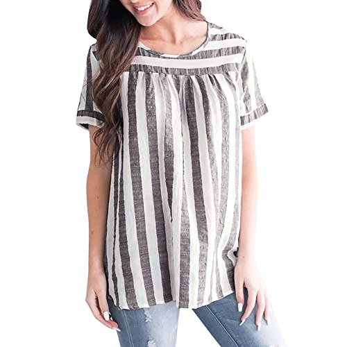 POHOK Women Striped Tops Summer Women Fashion Casual Loose Short Sleeve Tops Linen Blouse (L,Brown) -