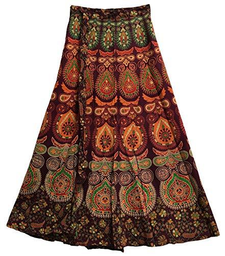 Yoga Trendz Bohemian Indian Ethnic Block Print Cotton Long Maxi Wrap Around Skirt BAGROO (Wine Tones)