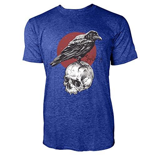 SINUS ART ® Rabe auf Totenschädel Herren T-Shirts in Vintage Blau Cooles Fun Shirt mit tollen Aufdruck