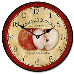 The Big Clock Store Apple Wall Clock, Available in 8 sizes, Most Sizes Ship 2-3 days, Whisper Quiet.