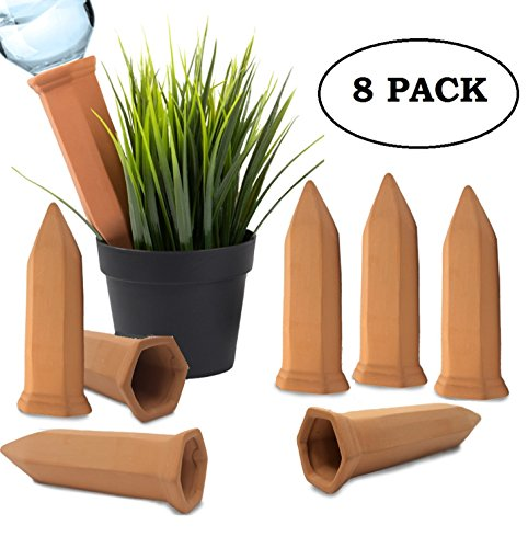 Clay Self- Plant Watering Device Irrigation System Spikes Automatic Portable Ceramic Terracotta Water Bottle Stakes for | Indoor | House Plants | Outdoor | Garden by Wealers (Set of 8 Stakes) (Fairy Garden Names)