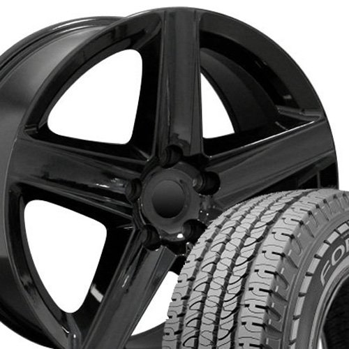 20x9 Wheels & Tires Fit Jeep, Dodge, Chrysler SUV - Grand Cherokee Style Black Rims w/Goodyear Tires, Hollander 9082 - SET