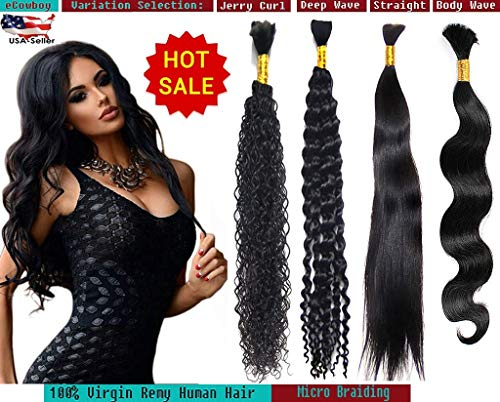 (eCowboy DIAMOND Grade Bulk Hair for Micro Braiding 100% Virgin REMY Hair Can be Dyed Bleached ABSORBS Color Well Straight 1 bundle 50 Grams Natural Black 20