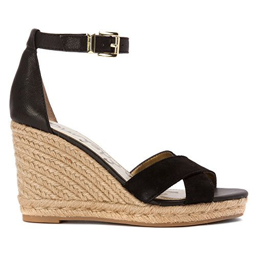 Sam Edelman Sandalias de cuña de la mujer Brenda Alpargata Black Kid Suede Leather/matte Ontario Leather