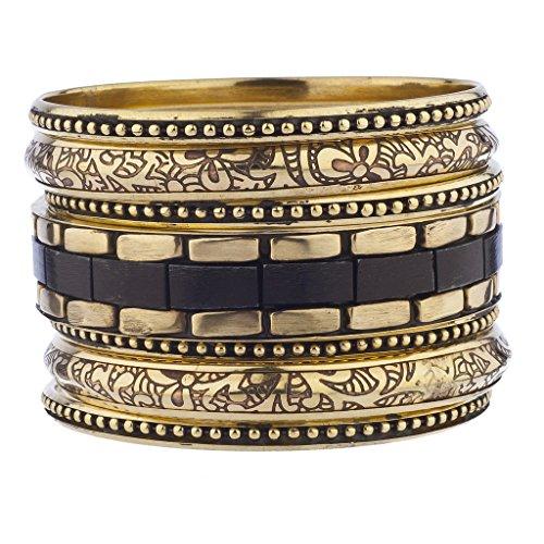 Lux Accessories Burnished Gold Etched Tribal Aztec Wood Multi Bangle Bracelet (Tribal Necklace Bracelets)