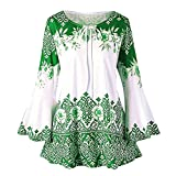 vermers Fashion Plus Size Clothing for Women Womens Printed Flare Sleeve Tops Blouses Keyhole T-Shirts(4XL, y-Green)