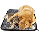 pet electric heating pad - Pet Heating Pad, GOOBAT Pet Warming Mat for Dogs or Cats with Adjustable Temperature Controller and Chew Resistant Steel Cord, 17.7 x 17.7-Inch