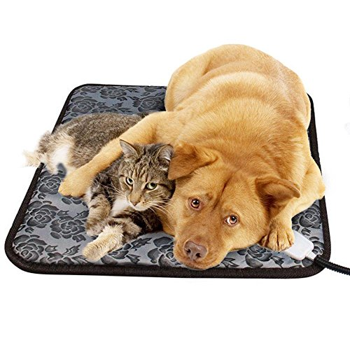 GOOBAT Pet Heating Pad, Pet Warming Mat for Dogs or Cats with Adjustable Temperature Controller and Chew Resistant Steel Cord, 17.7 x 17.7-Inch (Pet Heating Pad)