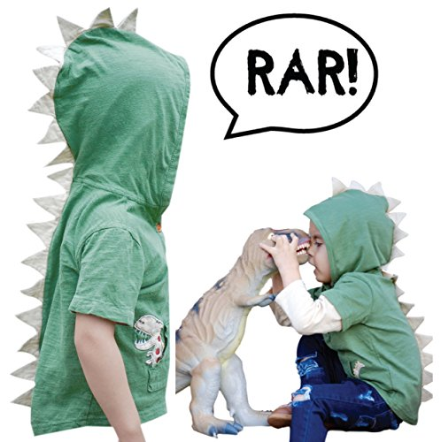 Mini Jiji Green T-Rex Dinosaur Toddler Hoodie with Removable Sleeves for Infant Toddlers Boys Girls Unisex (Green, Small, 6-7 yrs)