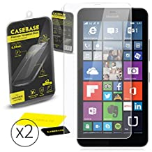 CaseBase® Premium Tempered Glass Screen Protector TWIN PACK for Microsoft Lumia 640 XL ** DOUBLE GLASS ** 2 in 1