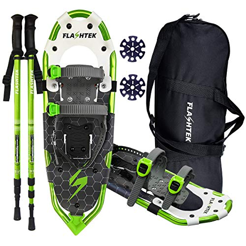 FLASHTEK 25/30 Inches Lightweight Snowshoes for Men Women Youth, Aluminum Terrain Snow Shoes for Hiking and Heel Lift Riser for Mountaineering with Trekking Poles and Carrying Tote Bag