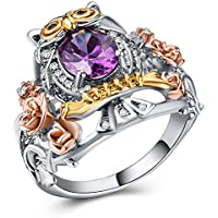 Jaywine2 Creative Owl Oval Cut Amethyst 925 Silver Jewelry Pretty Wedding Ring Size 6-10 (8)