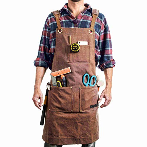 EVERPRIDE Waxed Canvas Apron (Heavy-Duty) All-Purpose Woodworking & Utility Coverall for Men & Women | Reinforced Straps, Multiple Pockets | Adjustable Up To XXL | Waterproof & - Apron Heavy Black Duty