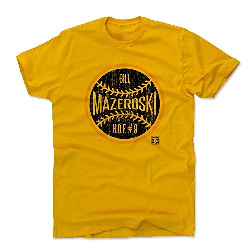 500 LEVEL Bill Mazeroski Cotton Shirt (Large, Gold) - Pittsburgh Pirates Men's Apparel - Bill Mazeroski Ball K