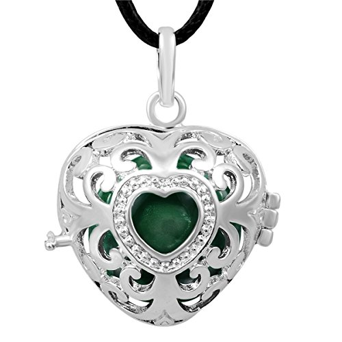 """Eudora Harmony bola Heart Chime ball Pendant Angel Caller Jewelry & 18mm Sounds Musical Ball With 45"""" Chain"""
