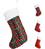 """SANNO 16"""" Christmas Hanging Stockings, Plaid Stocking Craft Socks Trendy Red and Green Tartan Christmas Stocking with Snowflake decorations, 16"""" Long"""