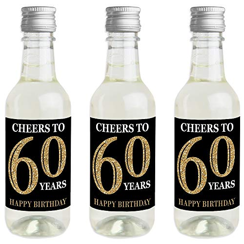 Adult 60th Birthday - Gold - Mini Wine and Champagne Bottle Label Stickers - Birthday Party Favor Gift for Women and Men - Set of 16