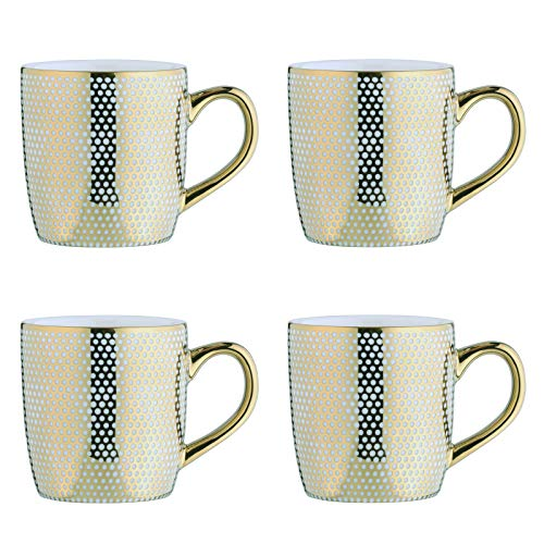 BIA 993023+1665PK4 Electroplated Mugs Espresso Cups, Porcelain, 100 milliliters