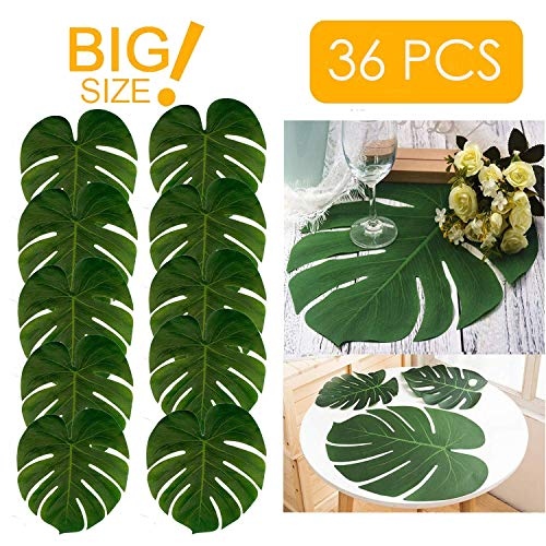 Linkhome 36PCS Large Artificial Tropical Palm Leaves,13.8 by 11.4 inch,Hawaiian Luau Party Jungle Beach Theme Decorations for Table Decoration Accessories -