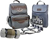 Innostage Insulated Picnic Backpack for 4, Hiking & Camping Back Pack Set with Separated Cooler Tote Bag,Movable Dinner Set Carrier,Plates,Cutlery and Waterproof Picnic Blanket