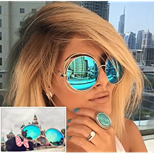 XXL Halo Double Wire Oversized Big Round Sunglasses Color Gold Turquoise Mirror