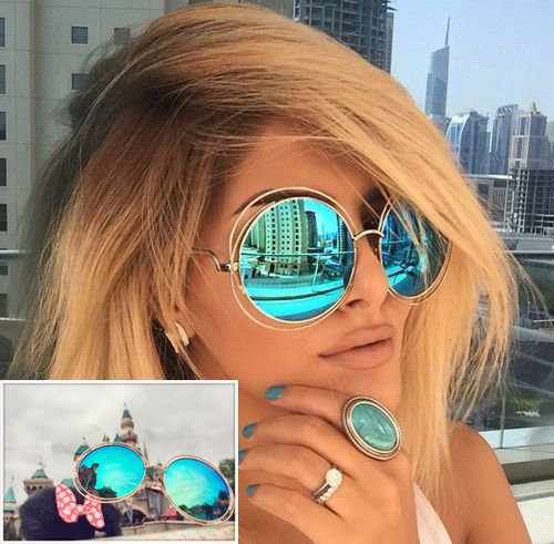 XXL Halo Double Wire Oversized Big Round Sunglasses Color Gold Turquoise - Ban Repair Ray Lenses