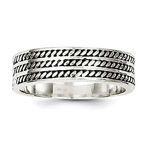 Broche de plata de ley de pared con marco envejecido Anillo - Tamaño R 1/2 - JewelryWeb
