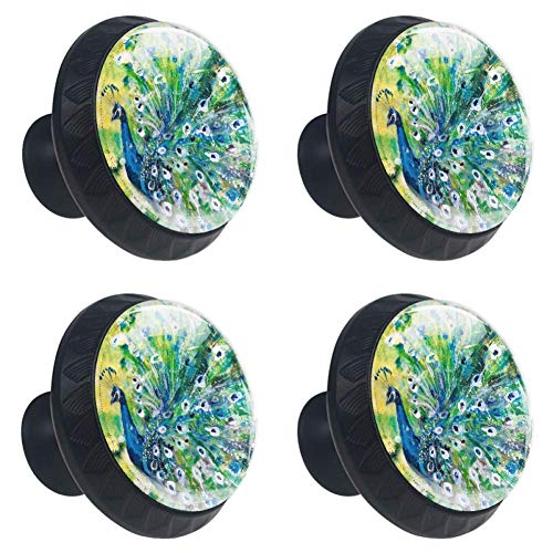 DEYYA Peacock with Feather in Boom Peacock with Bright Feather Display Glass Cabinet Knobs 4 Pcs 30mm Drawer Handles for Kitchen Cabinets Dresser Cupboard Wardrobe
