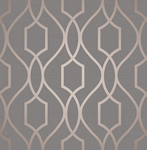 Apex Geometric Trellis Wallpaper Charcoal Grey and Copper Fine Decor FD41998 (Geometric Charcoal)