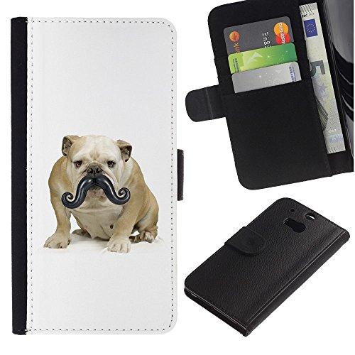 EuroCase - HTC One M8 - moustache bulldog small dog funny - Cuero PU Delgado caso cubierta Shell Armor Funda Case Cover