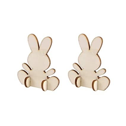 Amazoncom Amosfun 10pcs Cute Easter Rabbit Wooden Pieces 3d Bunny
