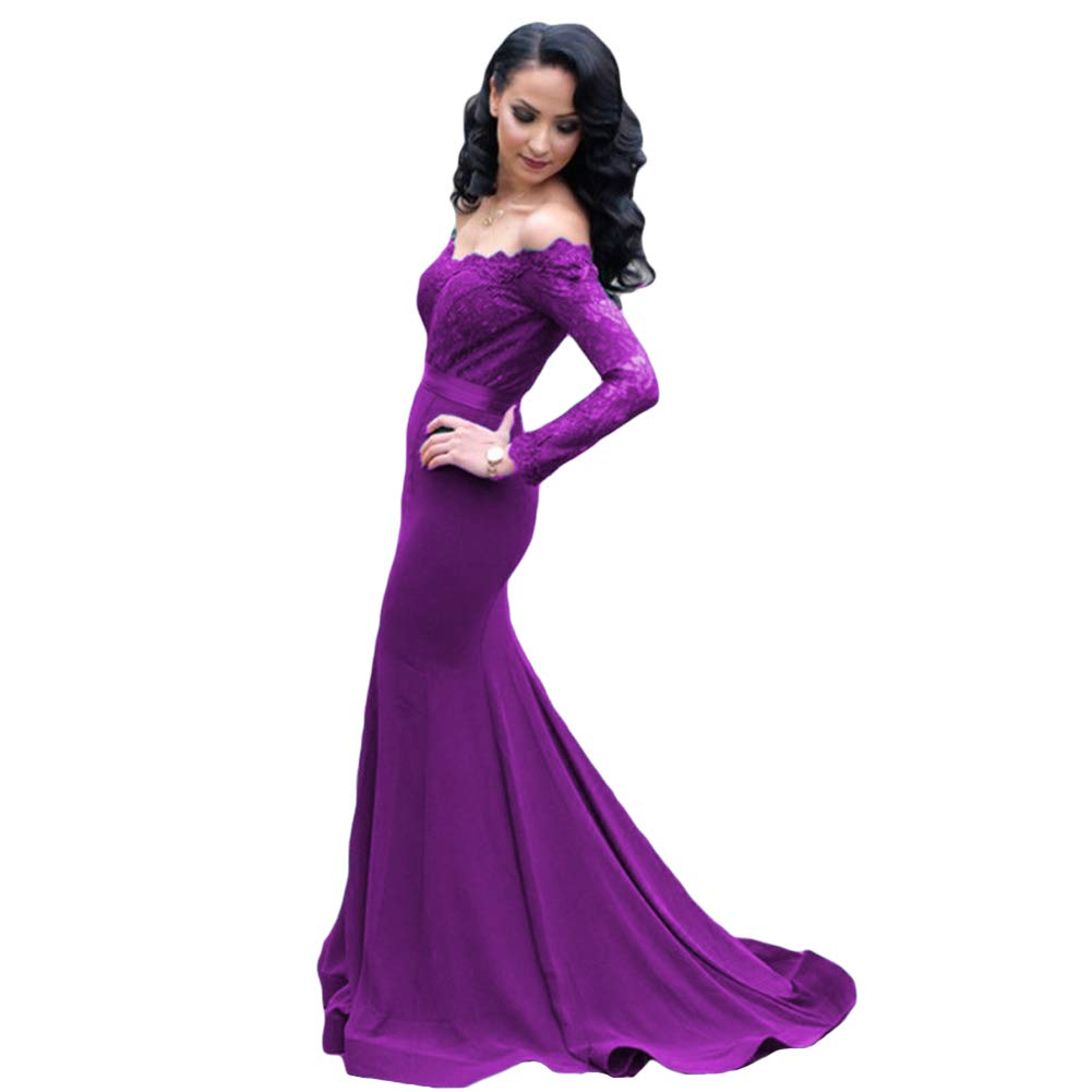 Purple Dreagel Lace Mermaid Prom Dresses Long Sleeves Evening Formal Dress Sweep Train
