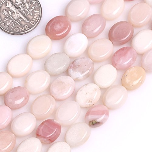 GEM-inside Pink Opal Smooth Oval 8x10MM Beads For Jewelry Making In 15 Inches