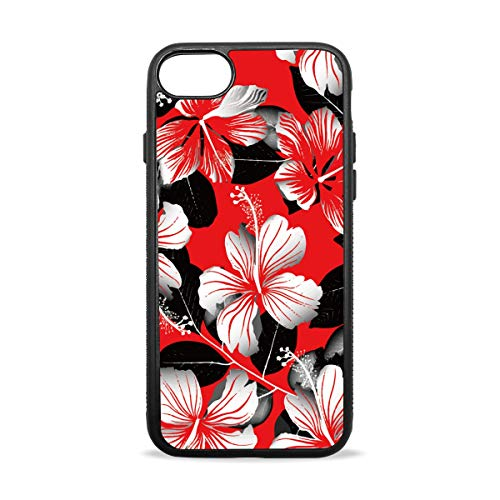 Wild Tropical Red Hibiscus Flowers Case Compatible with iPhone7 / 7plus & / iphone8 / 8plus Soft Shell Scratch-Resistant Anti-Fingerprint Black Border