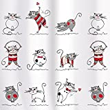 Tatkraft Funny Cats Fabric Shower Curtain Liner 180X180cm Waterproof Polyester 12 Shower Rings Hooks