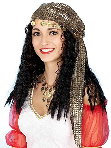 Gypsy Black Wig Hat Scarf Kerchief Gold Coins Costume Accessory Fortune Teller - Gypsy Wigs