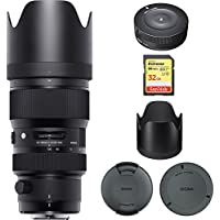 Sigma 50-100mm f/1.8DC HSM Lens for Nikon Mount (693955) with Sigma USB Dock for Nikon Lens & Sandisk 32GB Extreme SD Memory UHS-I Card