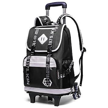 Nylon Schule Rucksack Wasserdicht Schultasche mit Rad Trolley Hand Gepäck Tasche