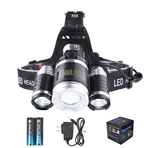 LED Headlamp, Smiling Shark Bright 3 XML-T6 LED Headlight 5000 Lumen 4 Modes Zoomable Water Resistant Rechargeable Battery