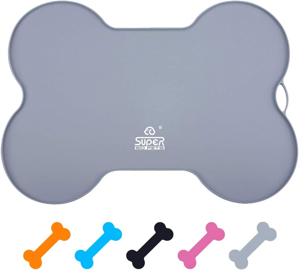 Super Design Silicone Waterproof Placemat - Bone Shaped Pet Feeding Mat, Silicone Raised Lip Non Spill Dog Cat Bowl Mat