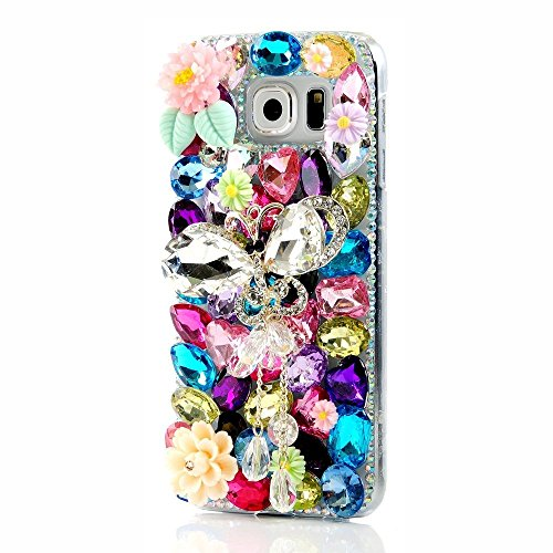 Samsung Galaxy S8 Active Bling Case - Fairy Art Luxury 3D Sparkle Handmade Series Stylus Bling Hard Cover with Soft Wallet Purse Red Cloth Pouch (Butterfly Pendant - Sunglasses Case Diy