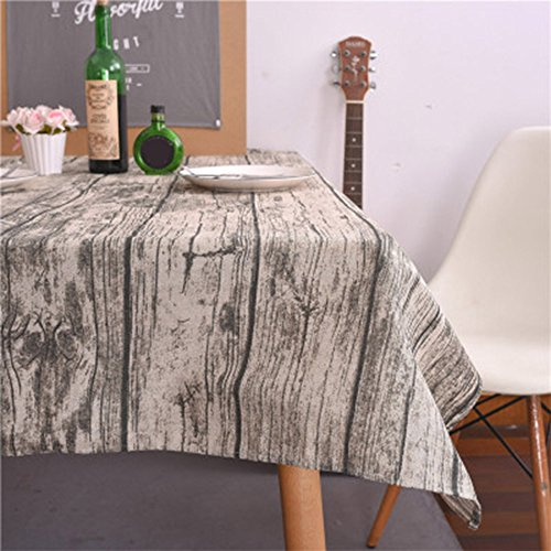 Rectangle Tablecloth Farmhouse Style Vintage Wood Grain Printing Waterproof Oilproof Tablecovers 100x140CM Perfect for Holiday Home Decor (A) by Aibiner -Home & Kitchen (Image #1)
