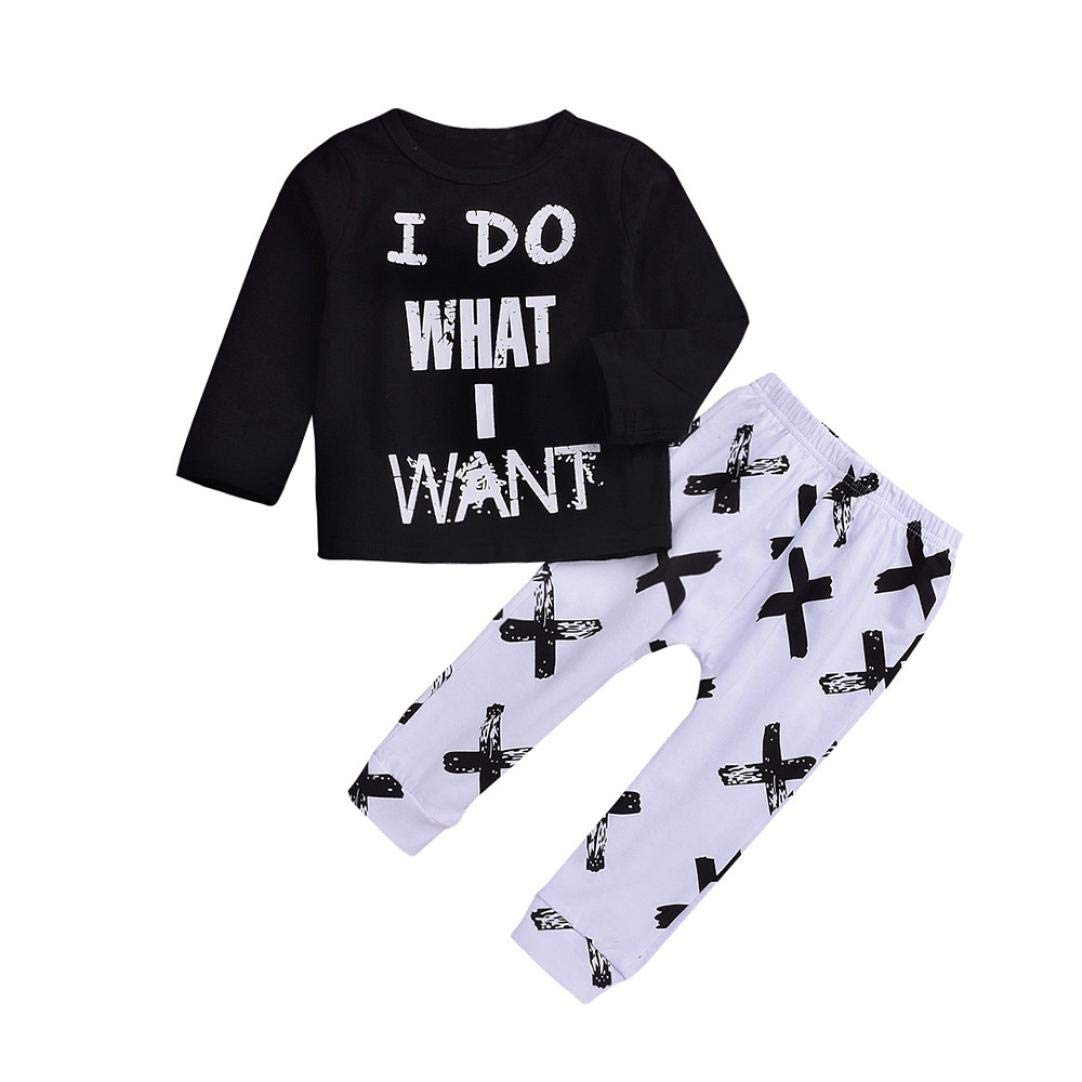 oddler Kids Baby Boys Girls Long Sleeve Top Letter Print T Shirt Long Pants Casual 2Pcs Clothes Set Outfit 1-4T (Black, 4T(3-4 Years))
