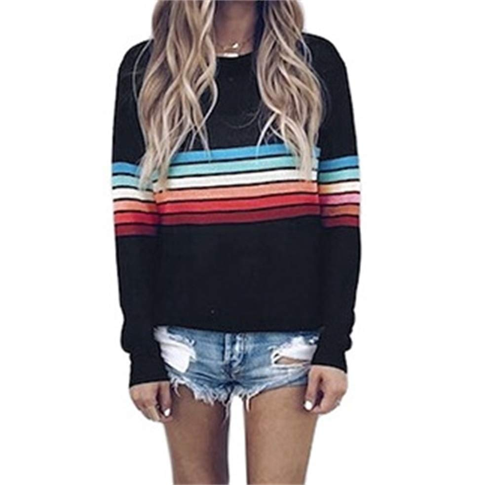 Women Simple Blouse Tops O Neck Colorful Print Splice Oversize Tee Shirt with Sleeve
