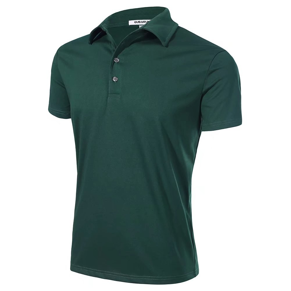 LINGMAO Men Polo Shirts Short Sleeve Solid Colors Button Closure Jersey Black Green M