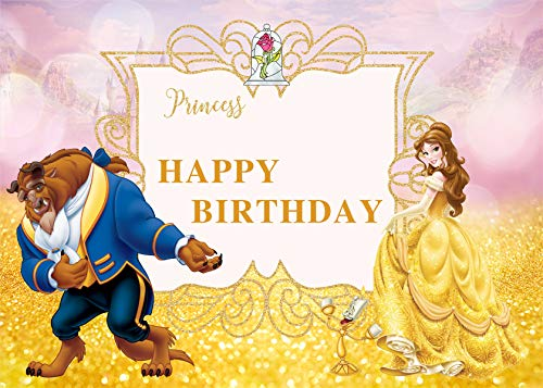 Happy Birthday Beauty and The Beast Background Photo Props Cartoon Character Pincess Wild Animal for Children Studio Birthday Party 7x5FT -