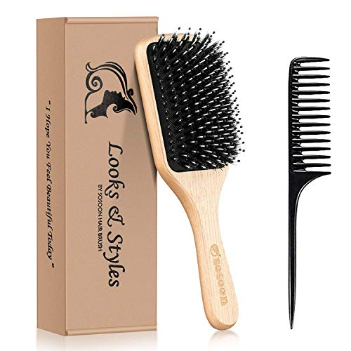 Hair Brush, Sosoon Boar Bristle Paddle Hairbrush for Long Short Thick Thin Curly Straight Wavy Dry Hair for Men Women Kids, No More Tangle, Giftbox & Tail Comb Included