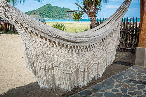 Handmade Mayan Hammock (Handmade Macrame Mayan Hammock, Matrimonal Hammock, Double Hammock, Brazilian Hammock - Made With 100% Natural Cotton - The World's Best Hammock! (King, Off-White))